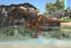 Orange Tribal T-Rex